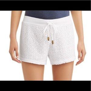 White lace shorts, new without tags, cover-up